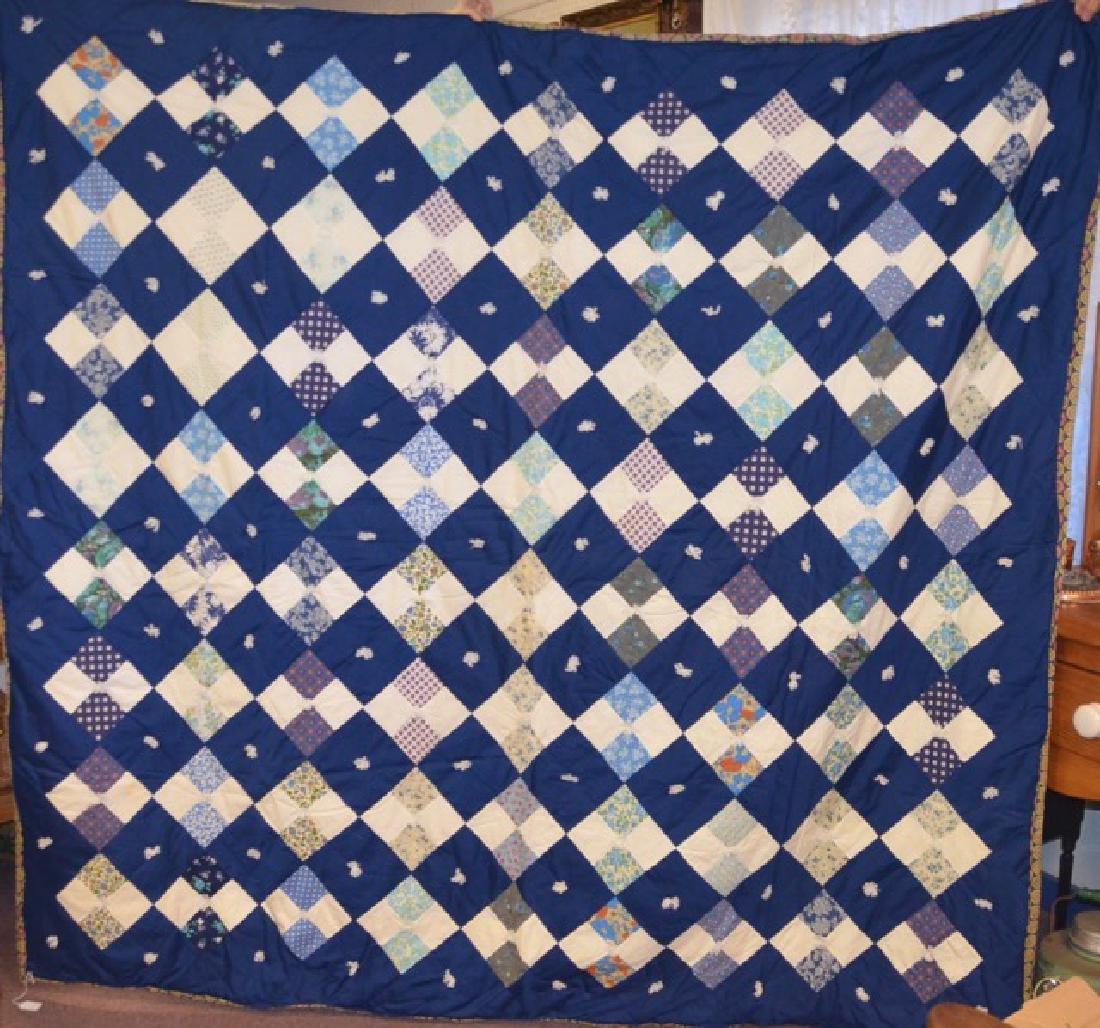 Yarn Tied Blue Quilt - 2