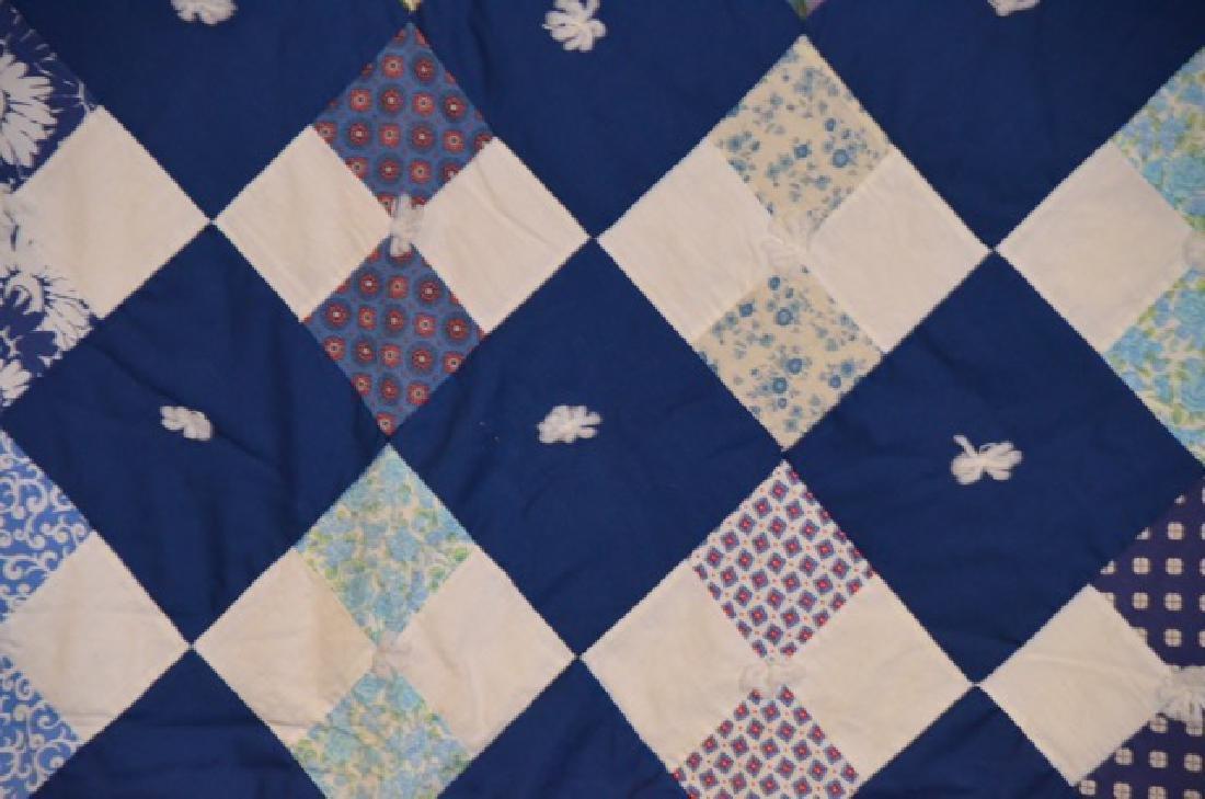Yarn Tied Blue Quilt - 3