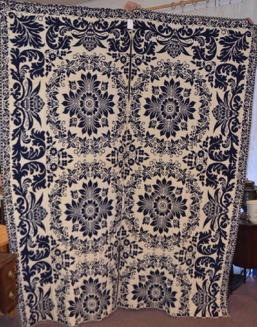 19th C. Jacquard Woven Blue & White Coverlets (2)