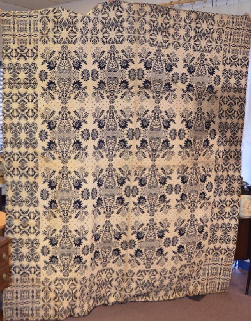 19th C. Jacquard Woven Blue & White Coverlet