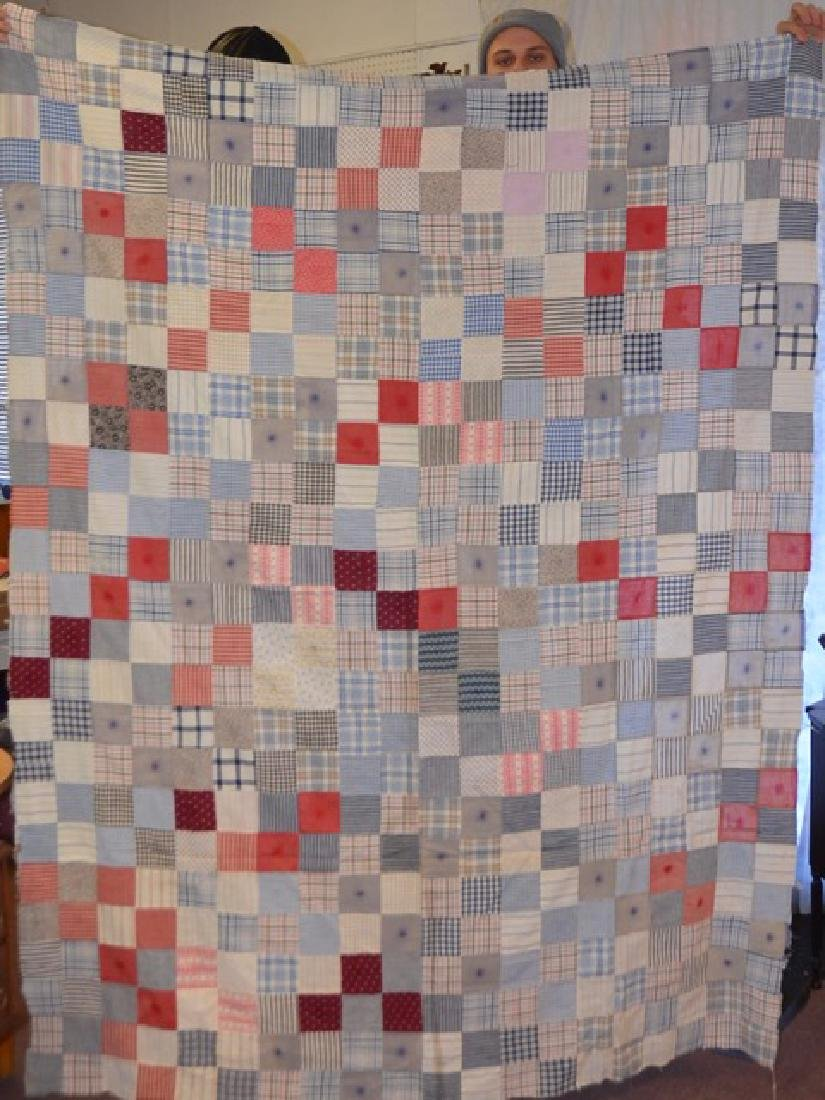 Antique Pink and Multi Colored Quilt Topper