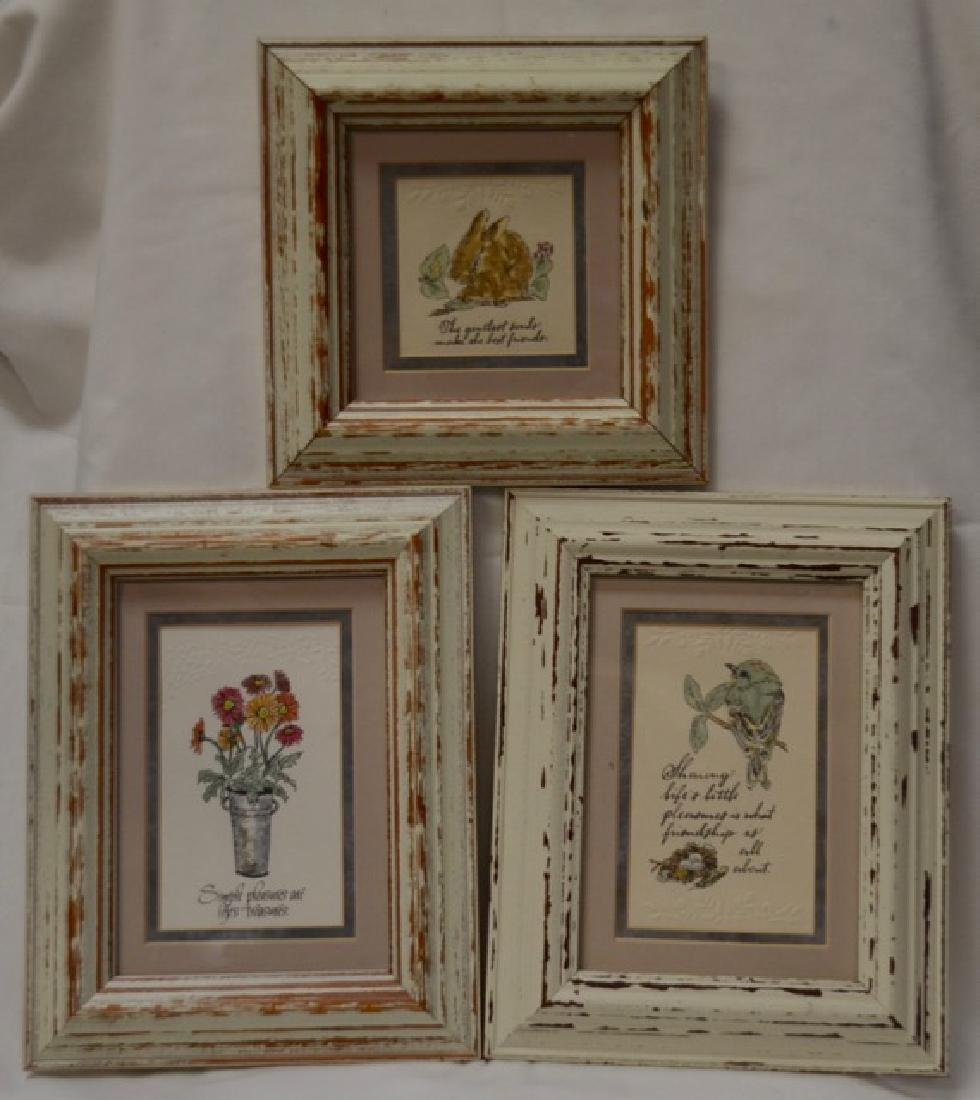 """Trio (3) Embossed color prints, """"Life's Simple"""