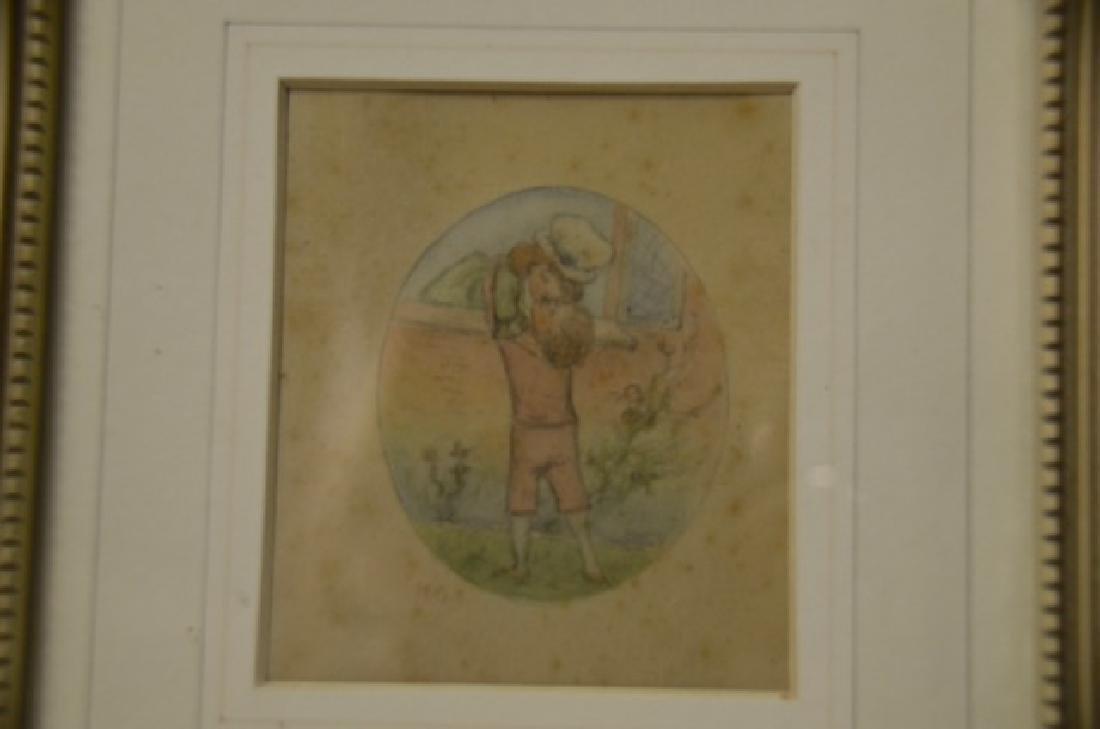 Watercolor, Children Embracing, Sgd.  K.G. - 2
