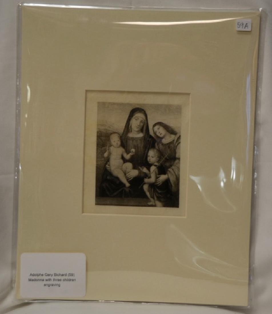 Engraving, Madonna w/ 3 Children, Sgd.  Bichard, G