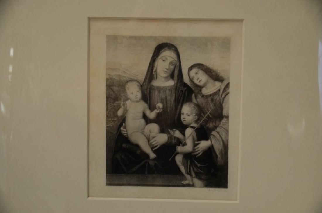 Engraving, Madonna w/ 3 Children, Sgd.  Bichard, G - 2