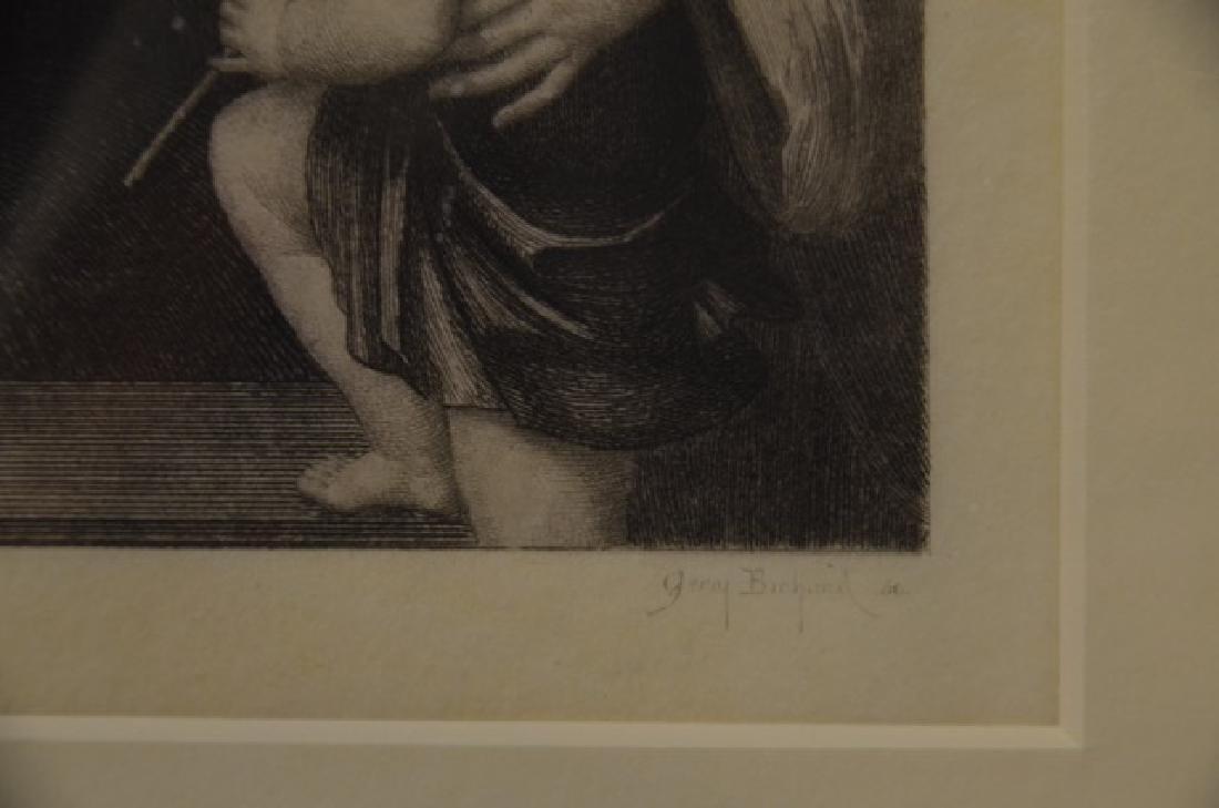 Engraving, Madonna w/ 3 Children, Sgd.  Bichard, G - 3