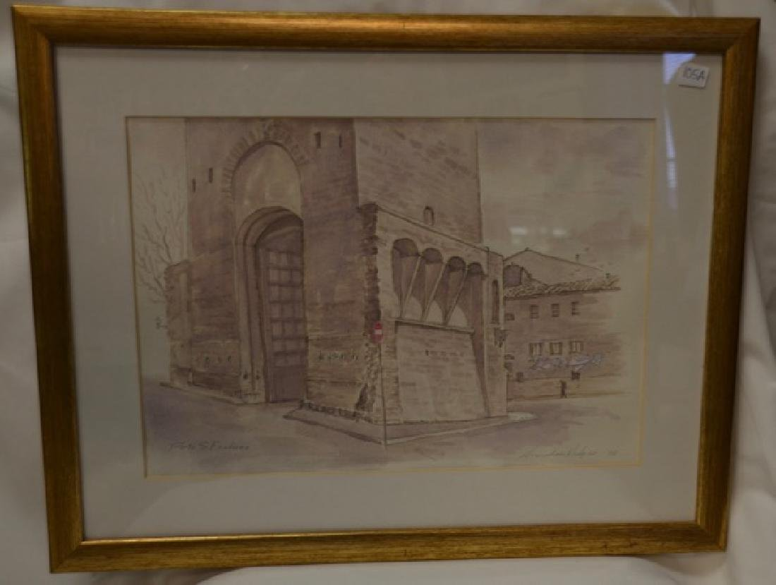 "Pen & Ink Wash, ""Portia S. Frediano"" Sgd.  Hodges, S."