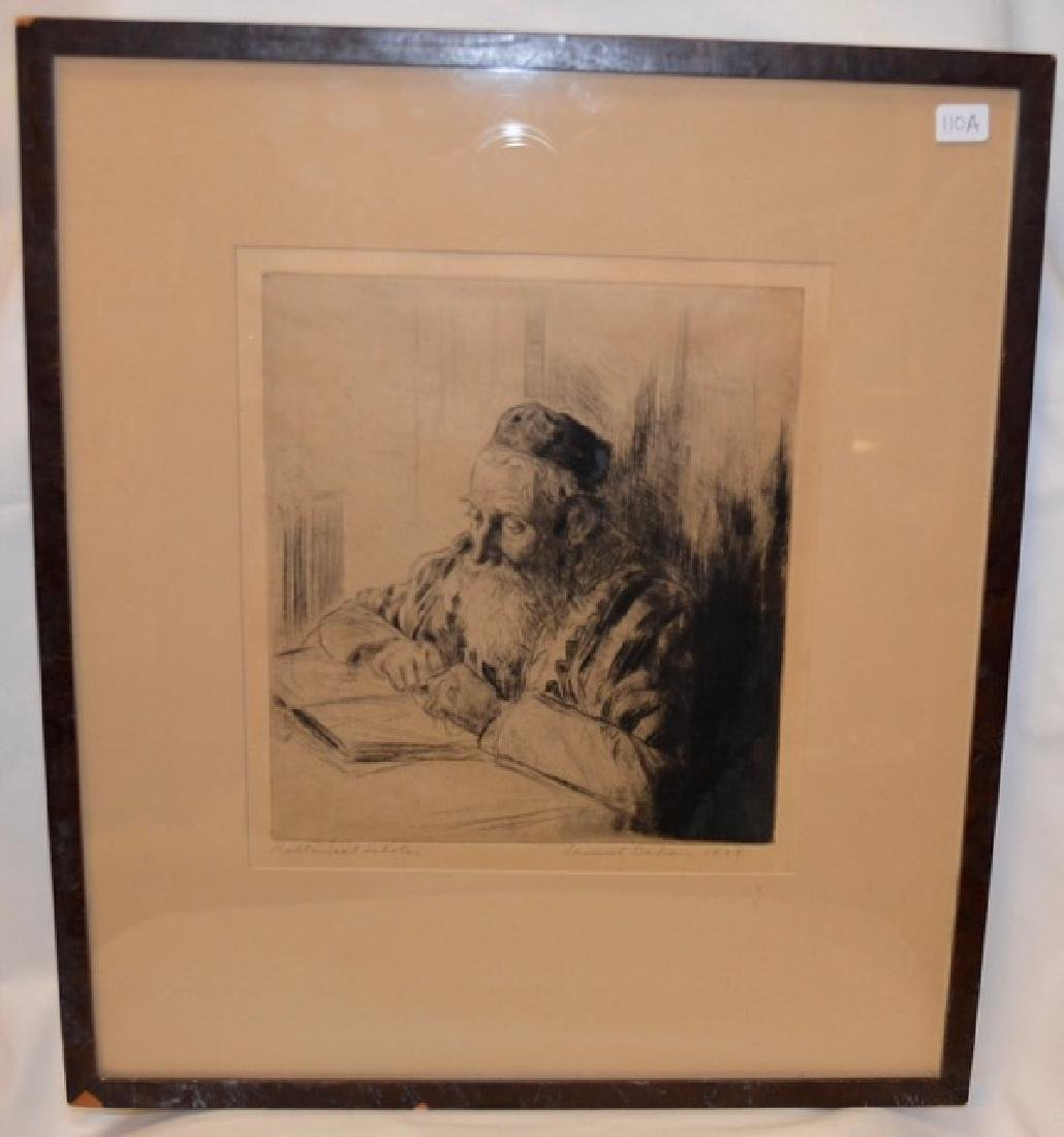 "Etching, ""Rabbinical Scholar"" Sgd.  Cahan, S."