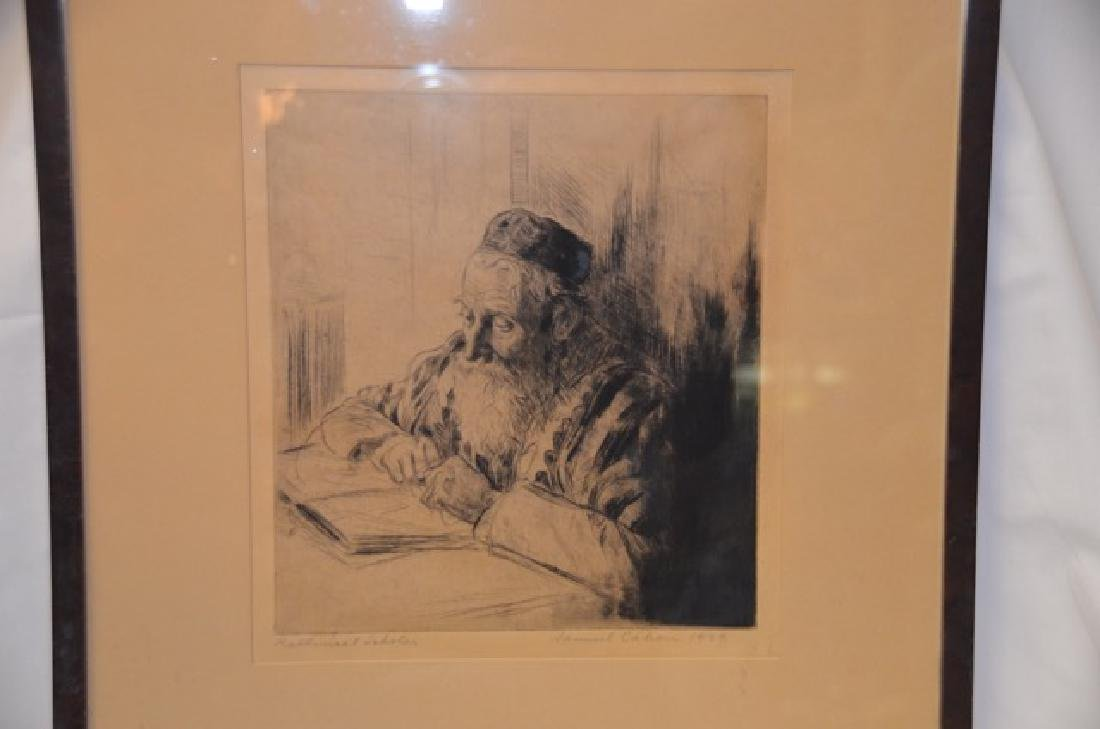 "Etching, ""Rabbinical Scholar"" Sgd.  Cahan, S. - 2"