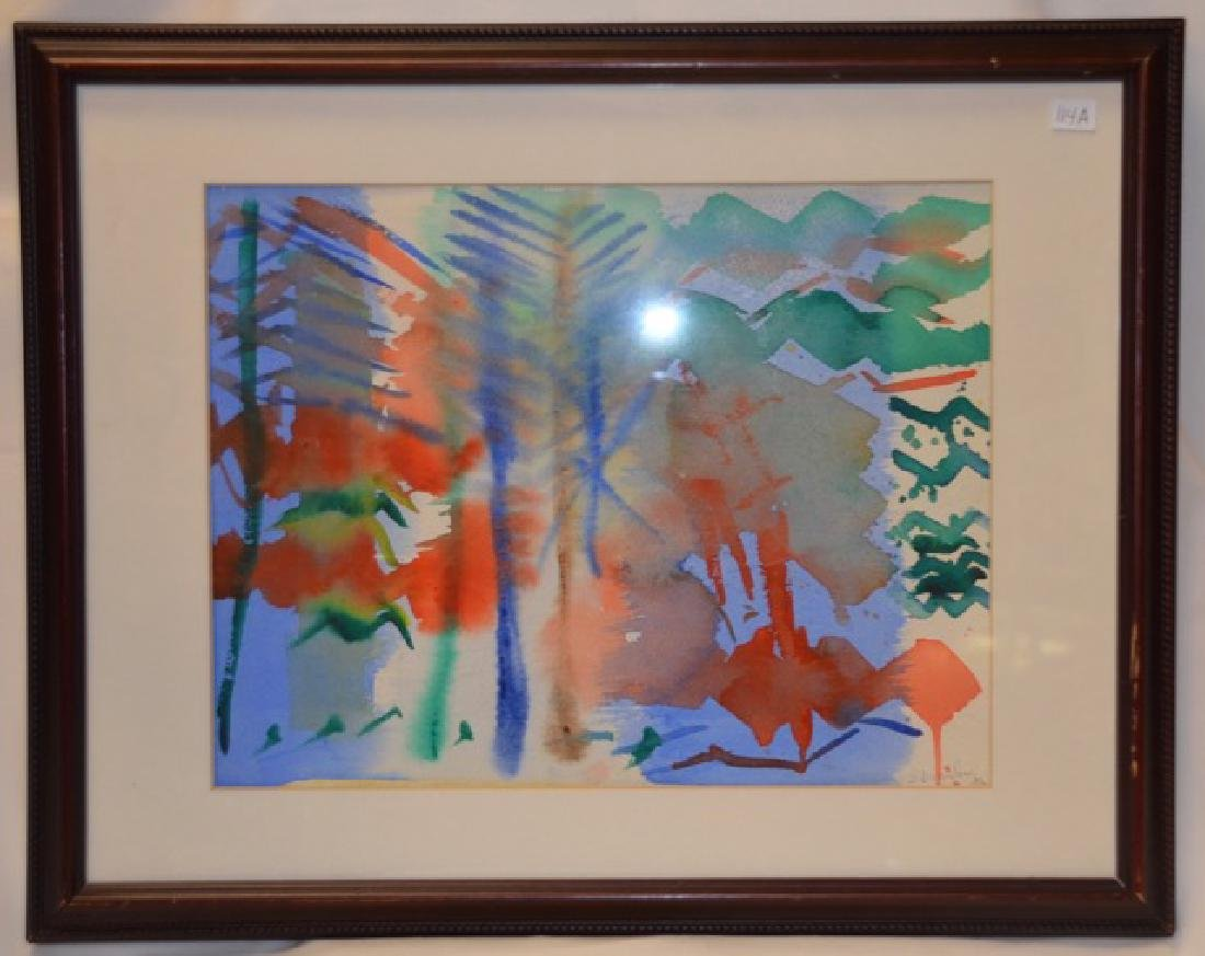 Watercolor, Wooded Landscape Sgd.  Wrasserburg, I.