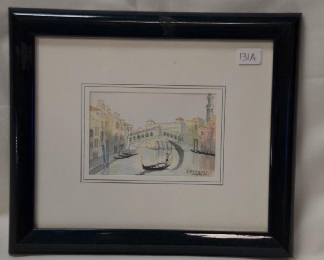 """Watercolor, """"Venice"""" Sgd.  Venezia"""