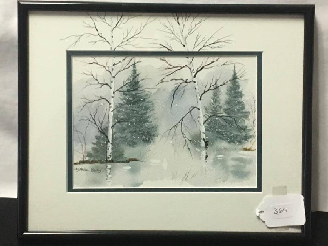 Watercolor - Snowy Forest Sgd. Anne Tracey