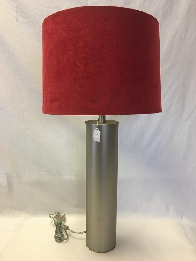Cylindrical Lamp with Red Faux Suede Shade