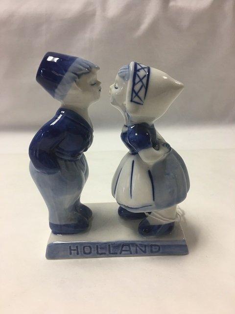 "Handpainted Dutch Statuette ""Almost Kiss"""