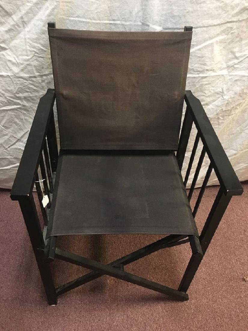 Pair Canvas Folding Arm Chairs