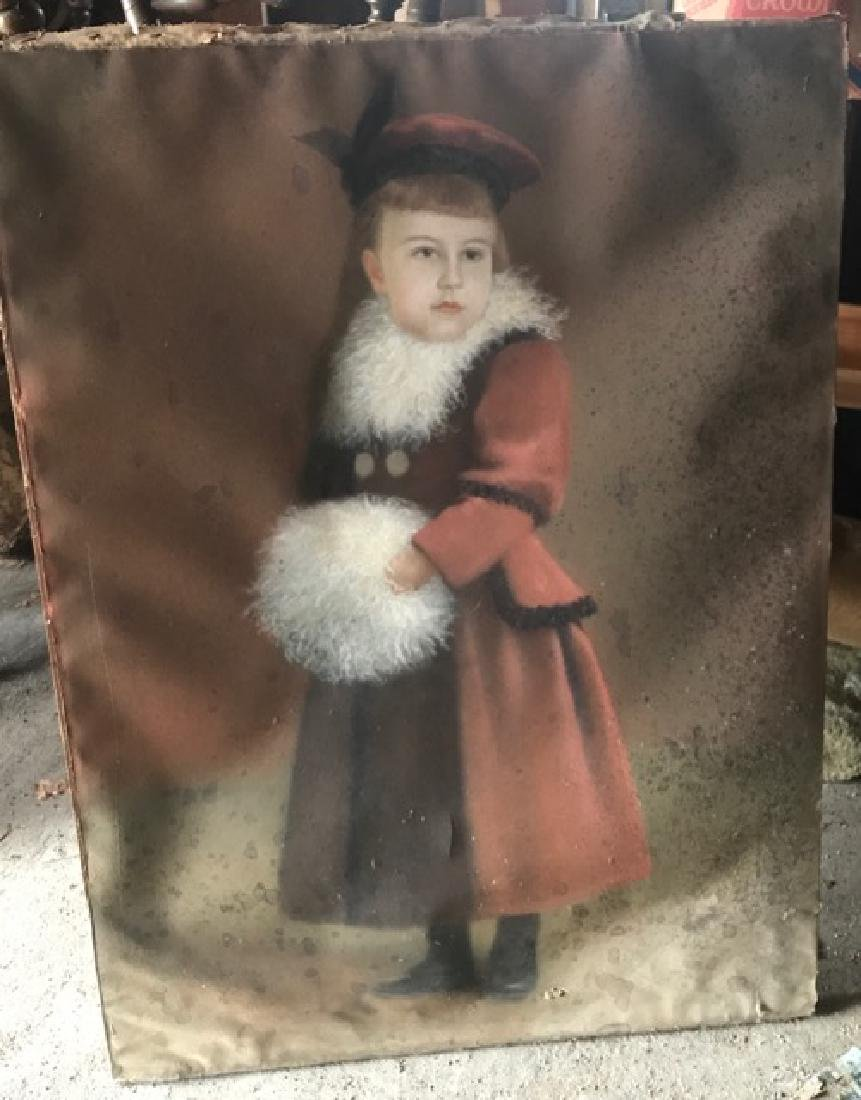 Primitive Pastel of a Young Girl