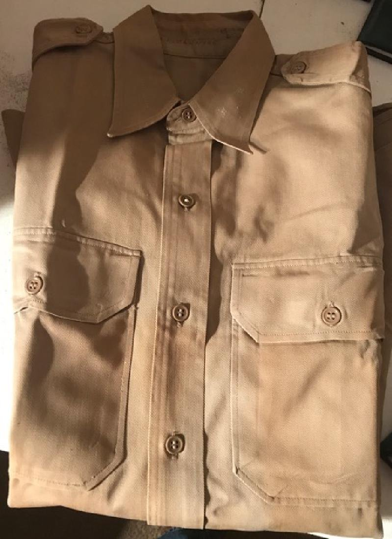Beige Military Button Down Shirt