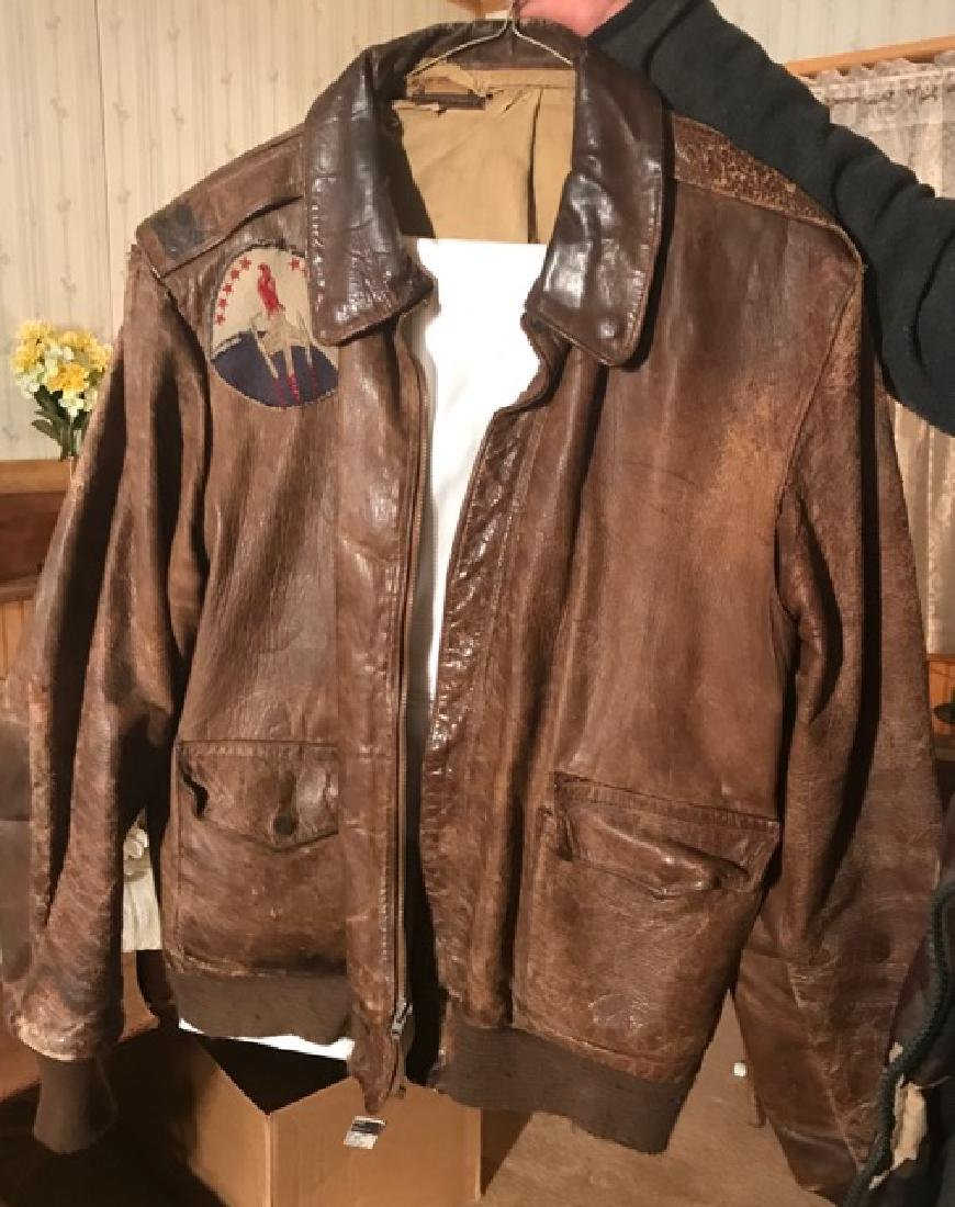 Vintage Bomber Jacket with Red Falcon Patch