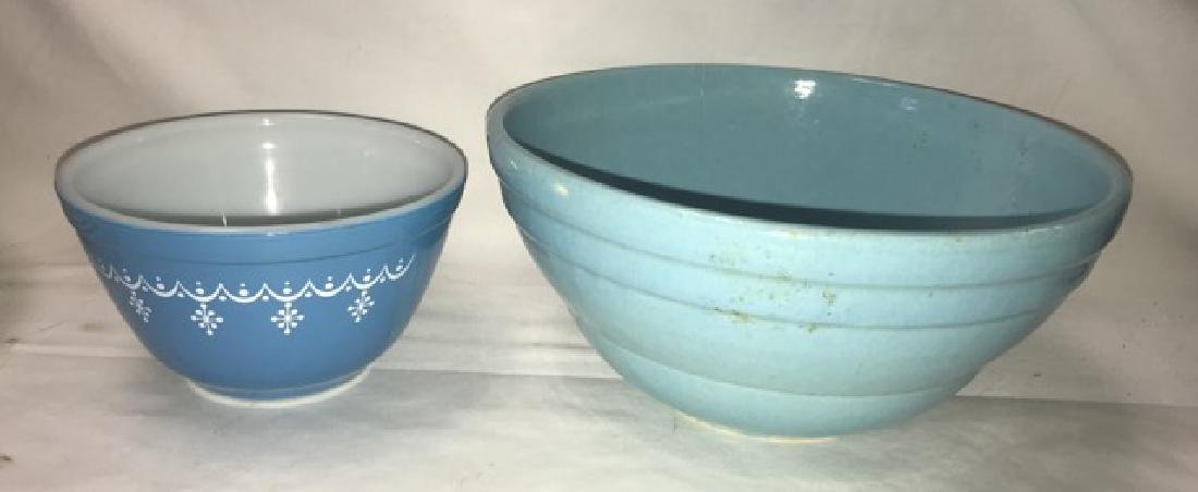 Two Mixing Bowls - Pottery and Pyrex