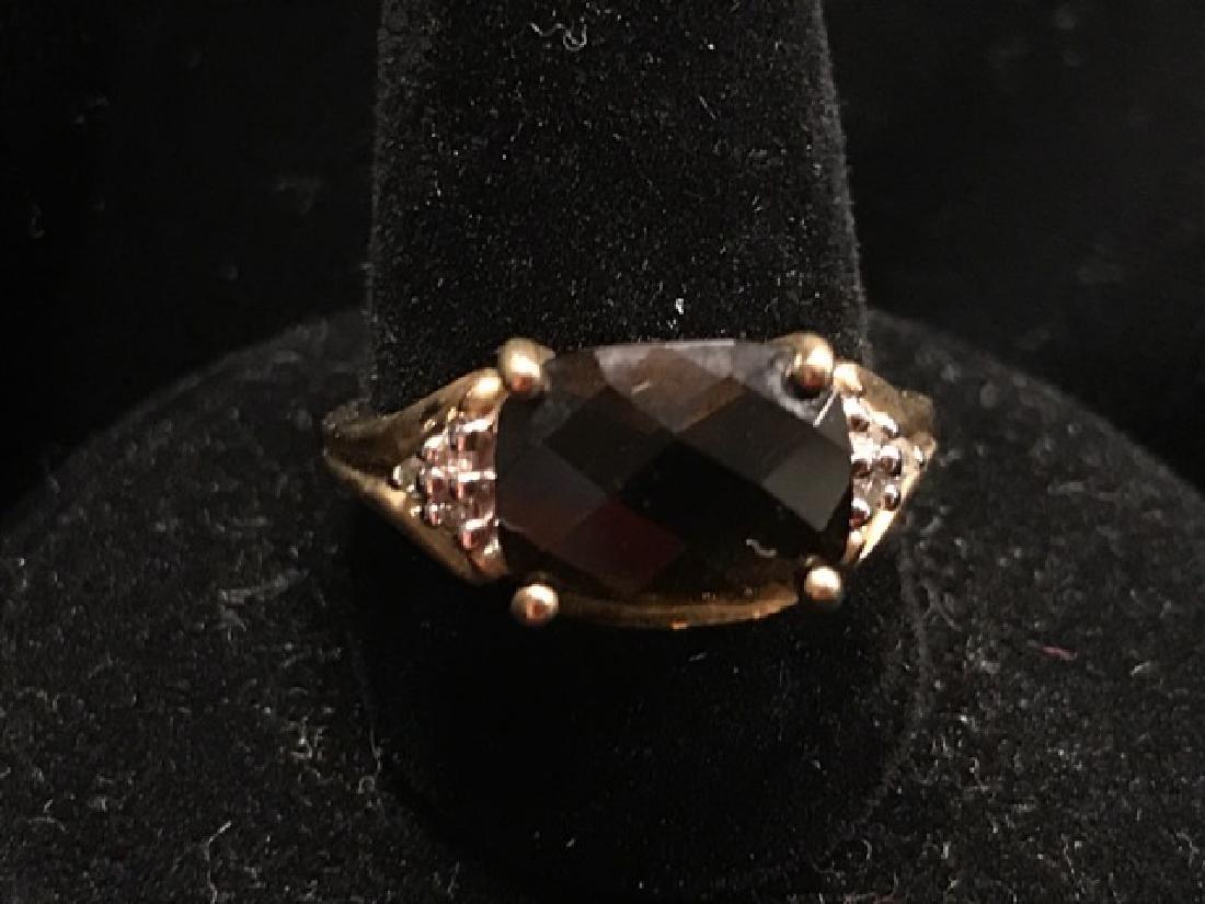 10K Gold Amethyst and Diamond Ring - 2