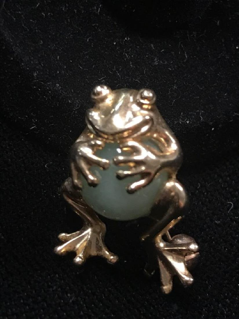 10K Gold Frog Pin with Jade Stone - 2