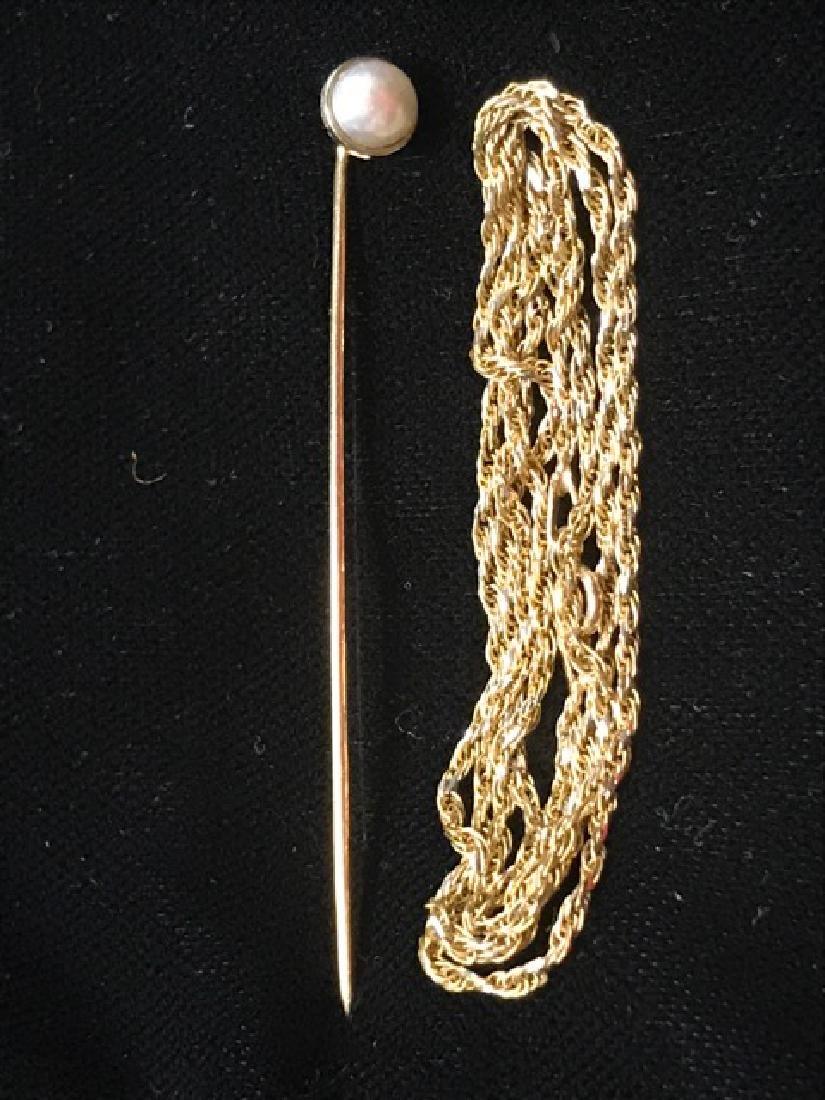 10K Gold Stick Pin and Chain