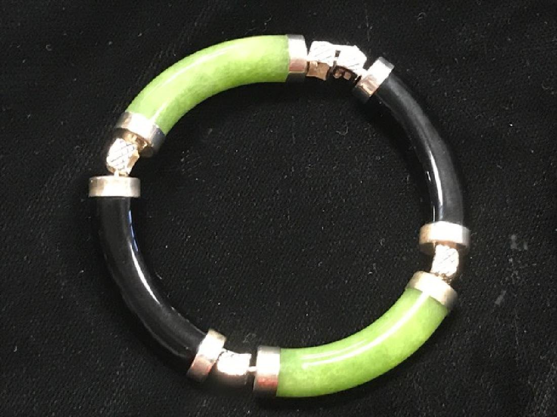 Chinese Sterling Silver and Jade Bracelet