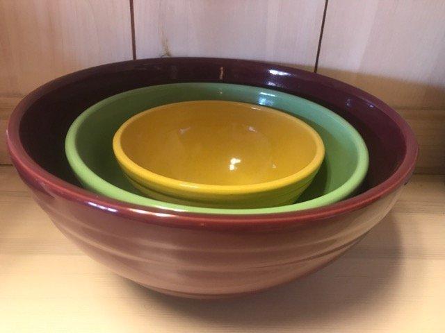 Vintage Stoneware Graduated Mixing Bowls