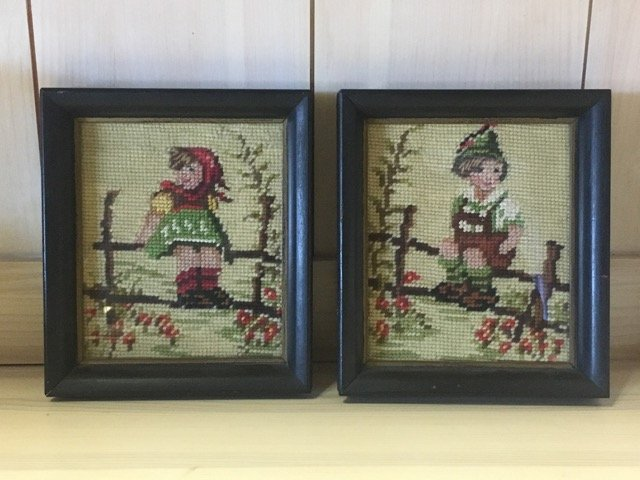 Pair of Hummel Style Needlepoints