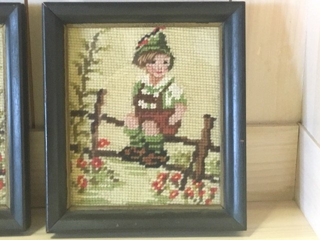 Pair of Hummel Style Needlepoints - 2