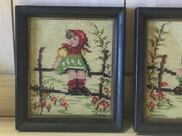 Pair of Hummel Style Needlepoints - 3