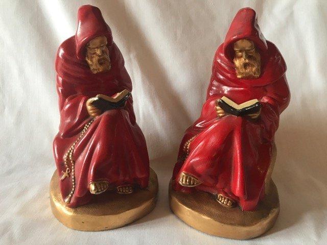 Pair Armor Bronze Monk Bookends