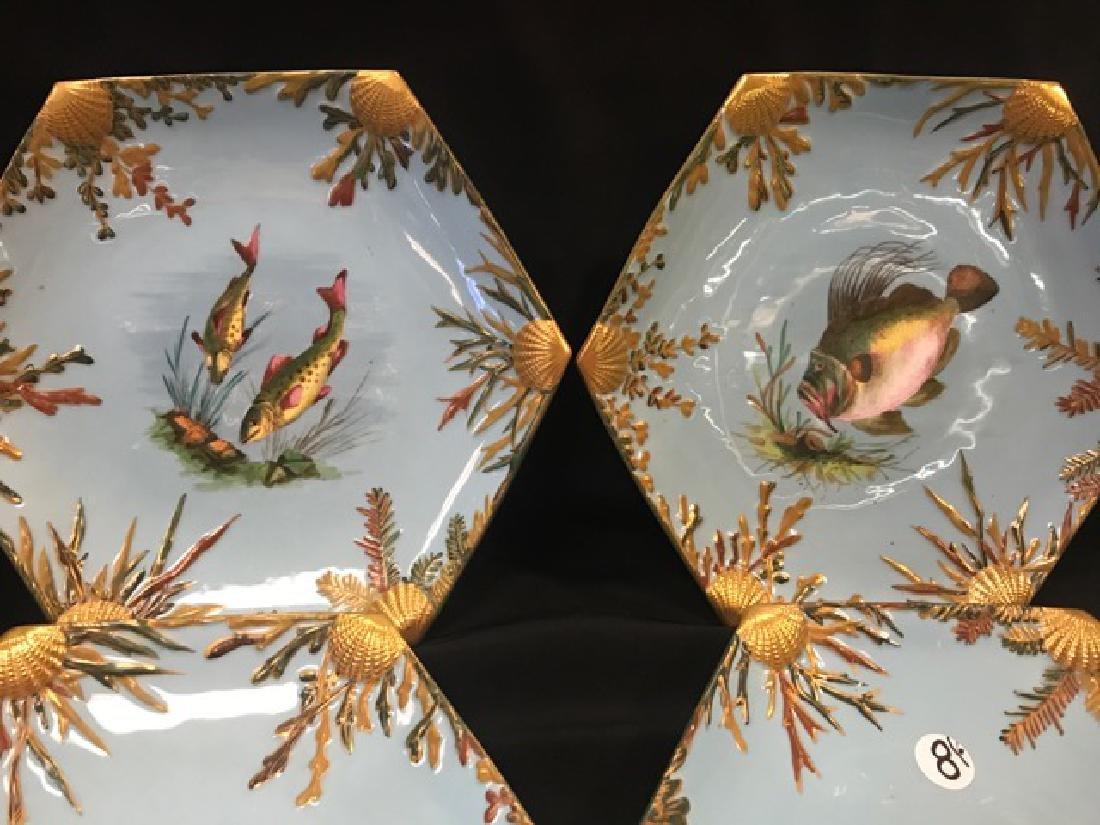 Six Bodley Hexagonal Fish Plates - 2