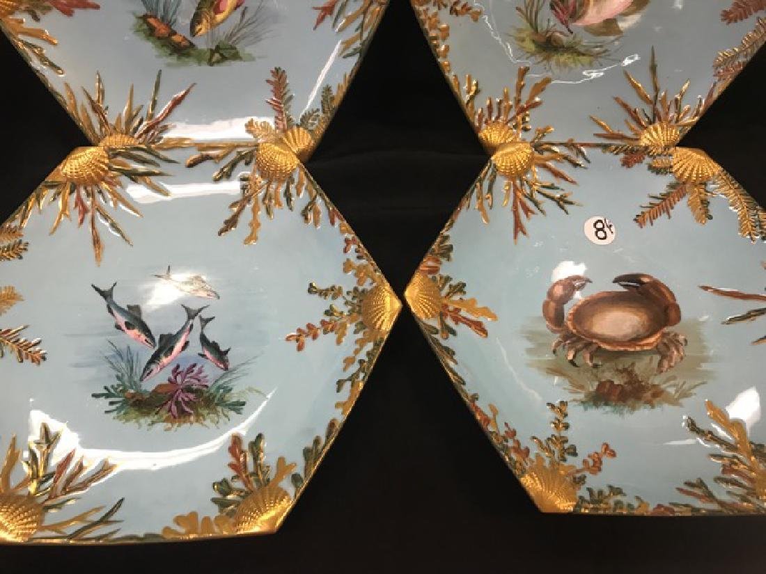Six Bodley Hexagonal Fish Plates - 3