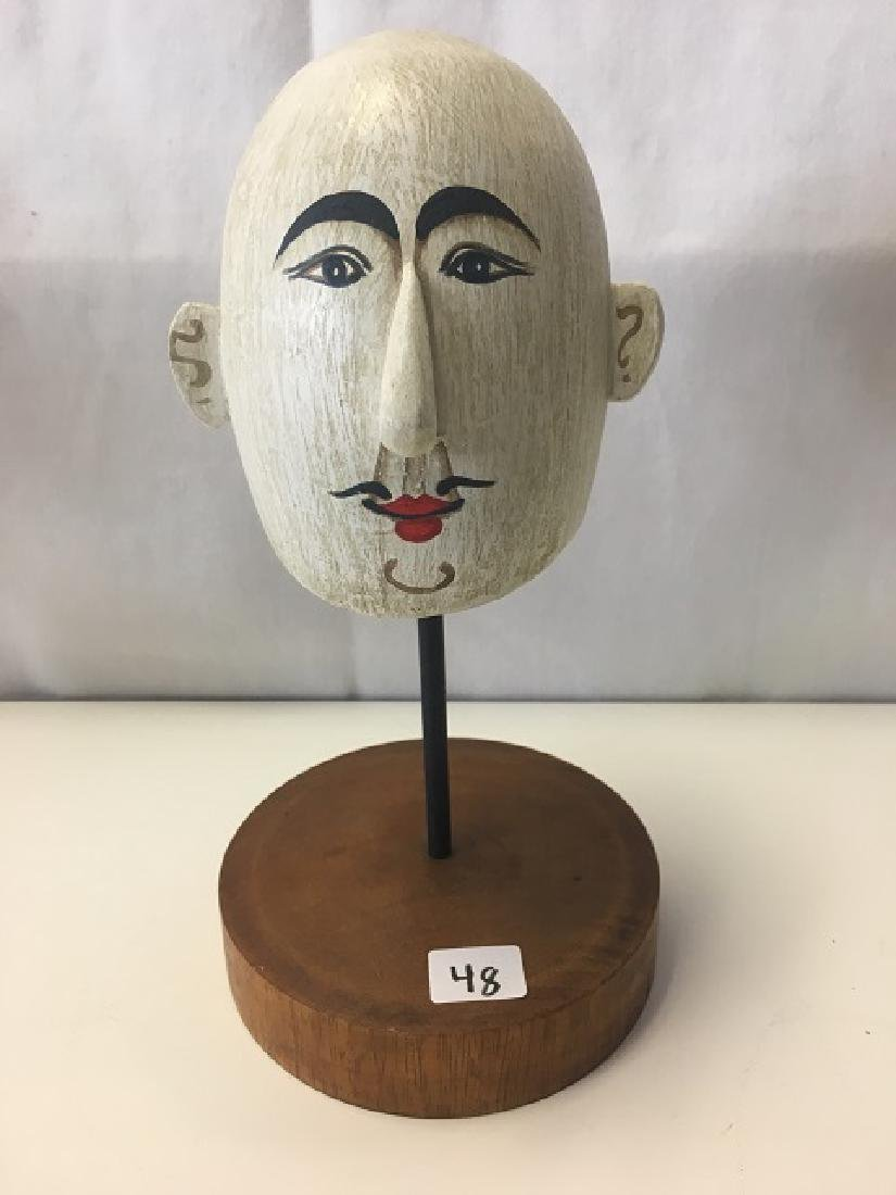 Painted Wood Head on a Stand