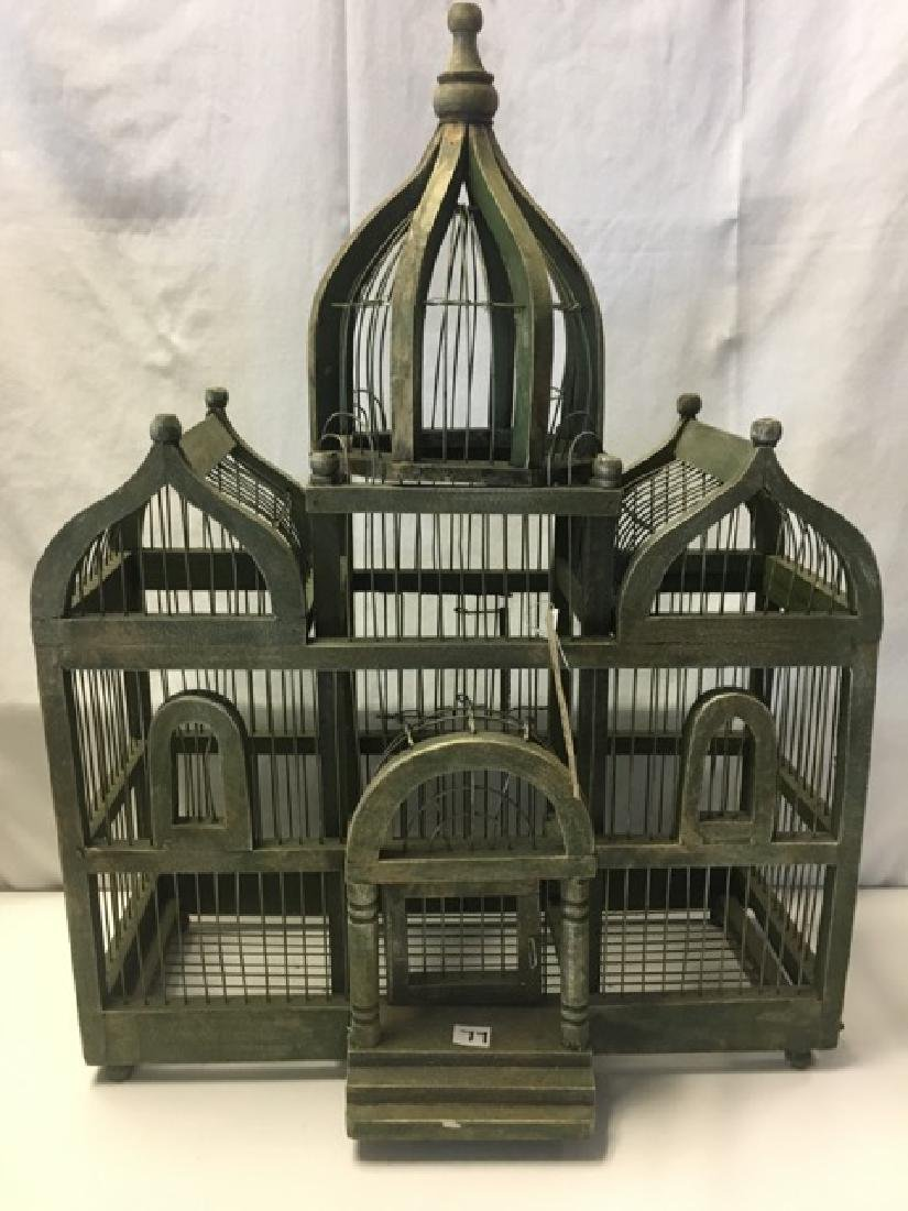 Wood and Wire Bird Cage with Turrets