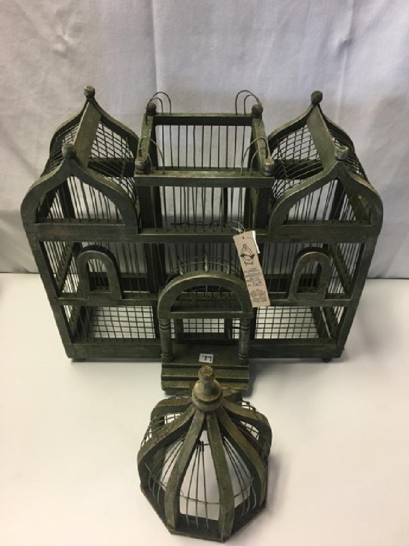 Wood and Wire Bird Cage with Turrets - 2