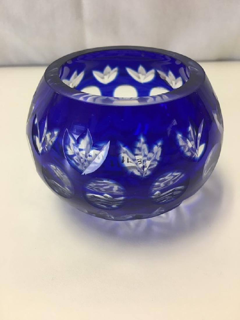Cobalt Cut To Clear Bowl - 3