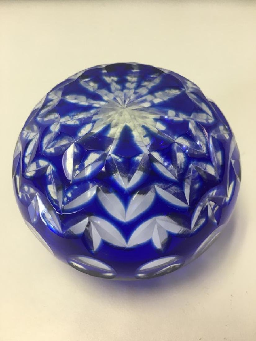 Cobalt Cut To Clear Bowl - 4