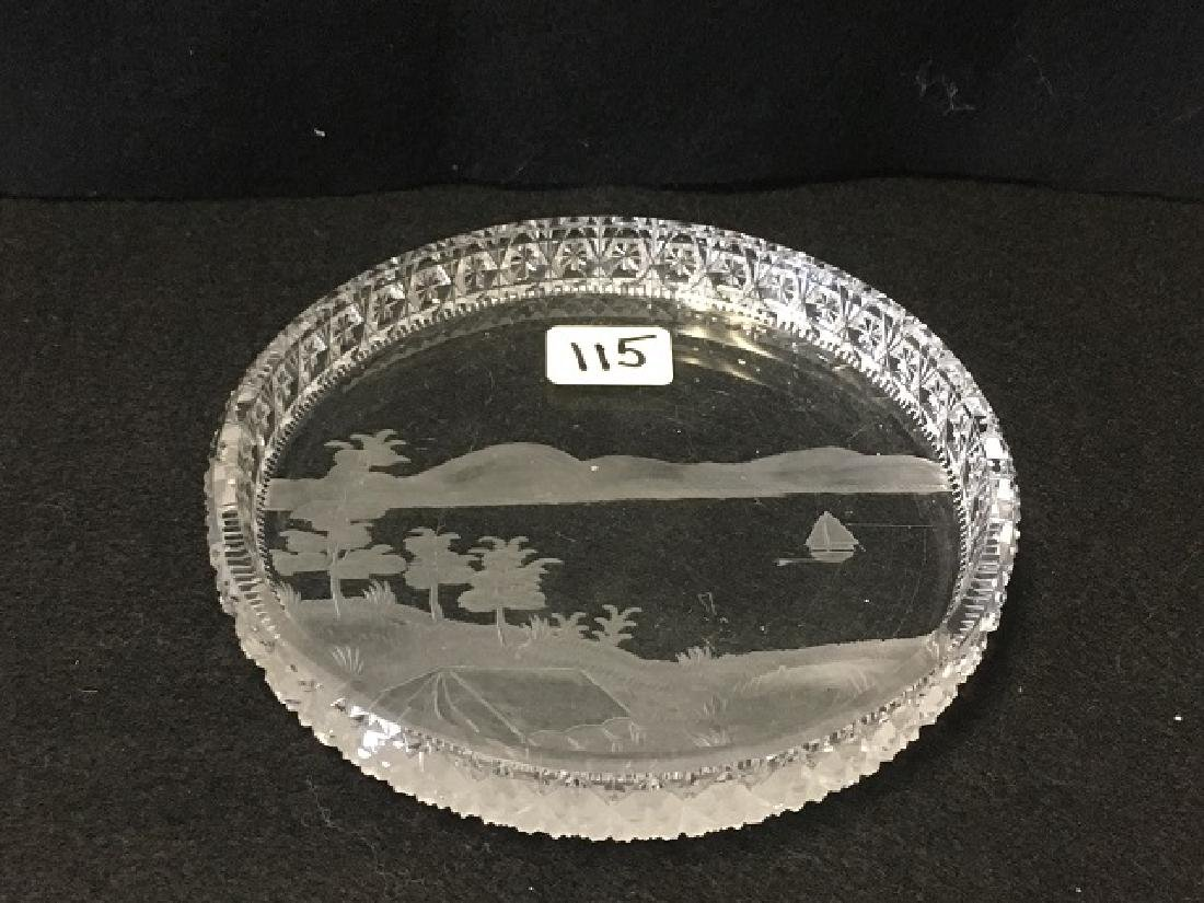 Cut Glass and Etched Dish