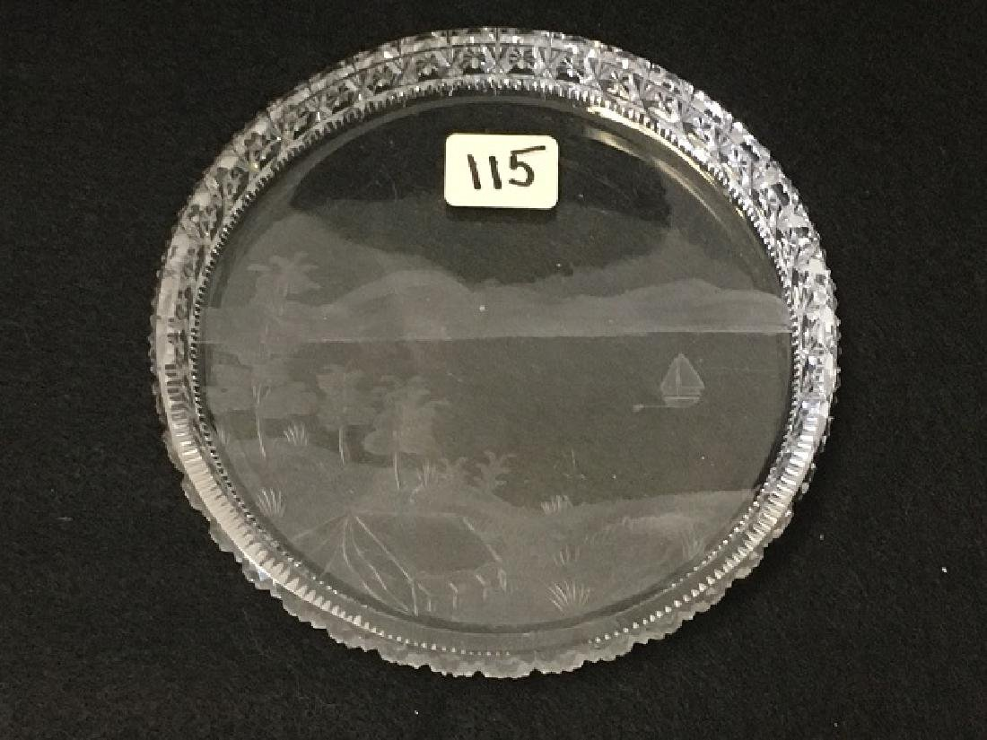 Cut Glass and Etched Dish - 2