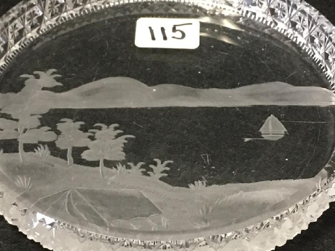 Cut Glass and Etched Dish - 3