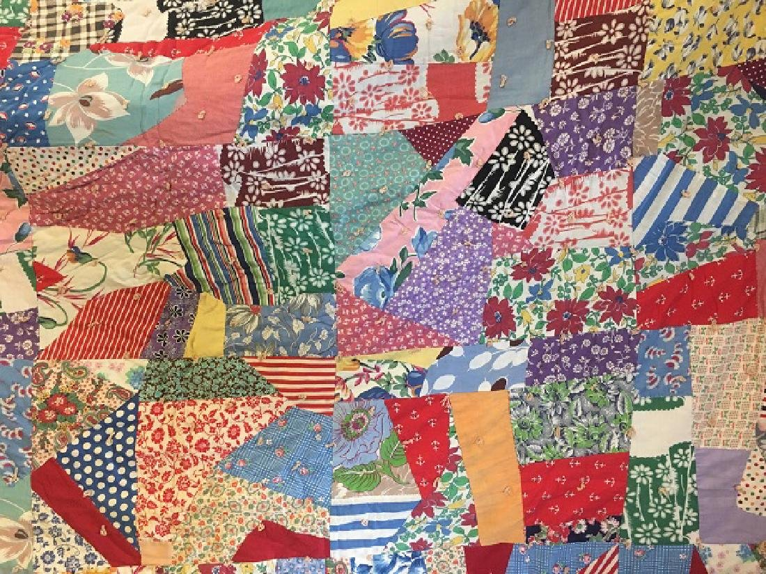 Vintage Hand Made Patchwork Quilt - 4