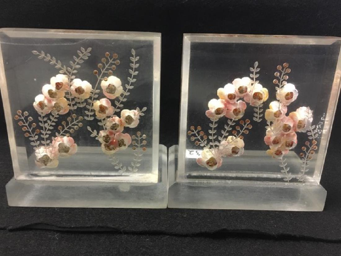 Vintage Lucite and Pink Floral Bookends - 3