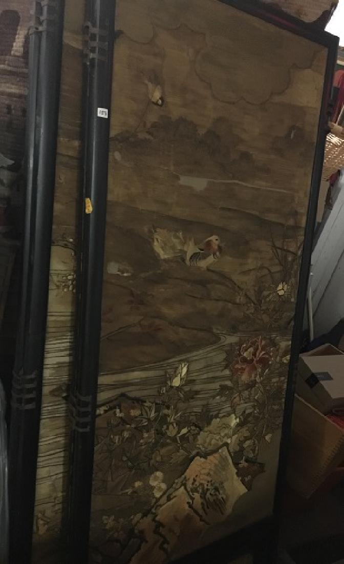 Antique Silk Paneled Japanese Screen