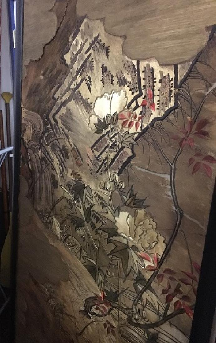Antique Silk Paneled Japanese Screen - 2