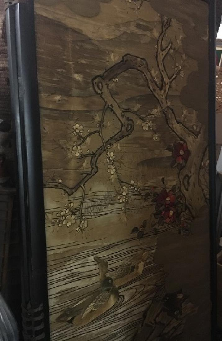 Antique Silk Paneled Japanese Screen - 3