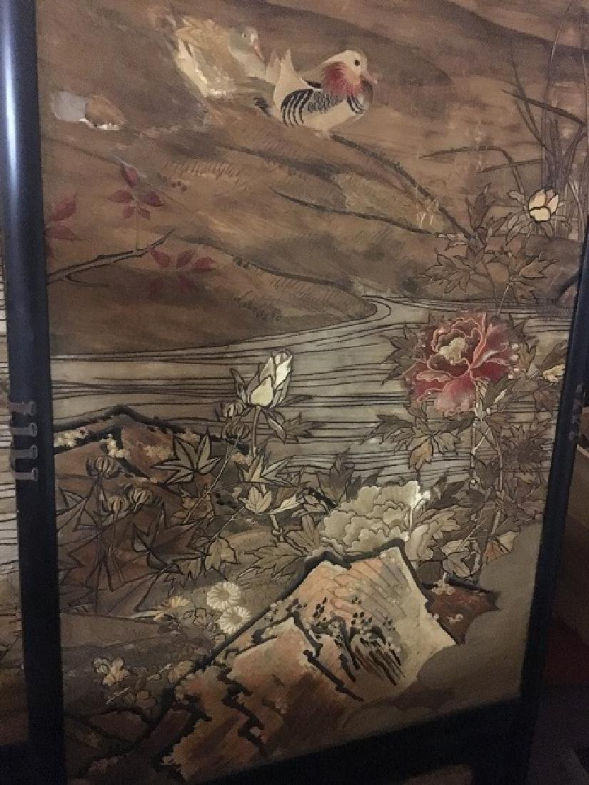 Antique Silk Paneled Japanese Screen - 7