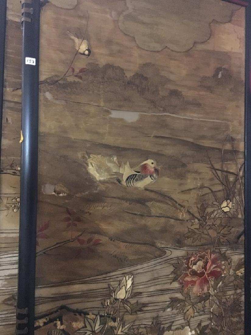 Antique Silk Paneled Japanese Screen - 8