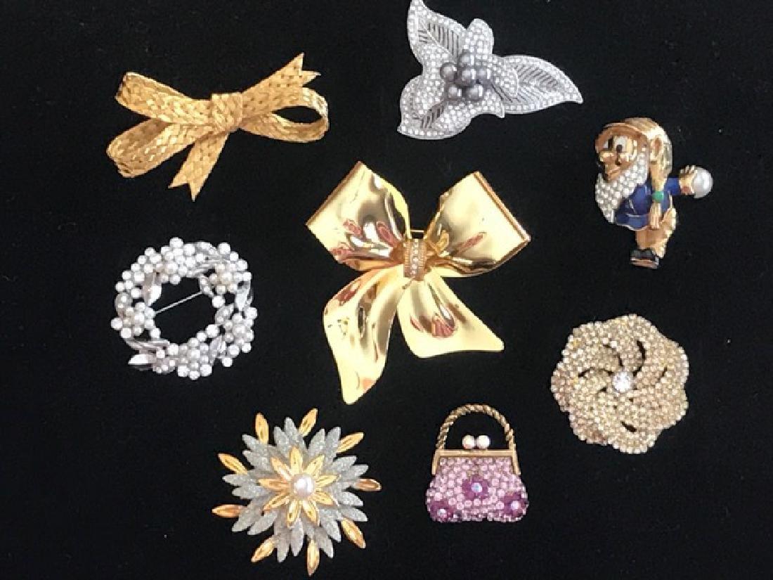 Eight Costume Jewelry Pins